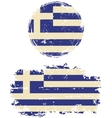 Greek round and square grunge flags vector image