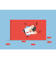 Businessman breaking through the wall vector image
