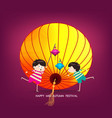 boy and girl with lantern happy mid autumn vector image