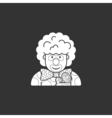clown icon dressed in polka dots in the contour vector image