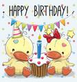 greeting card two cute cartoon ducks vector image
