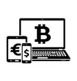 modern digital devices icons with currency signs vector image