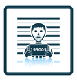 Prisoner in front of wall with scale icon vector image