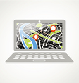 Modern laptop with abstract city map vector image vector image
