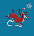giant red octopus sea monster kraken vector image