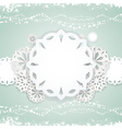 paper snowflake background on blue vector image vector image