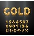 Golden alphabet Set of metallic 3d numbers vector image
