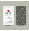 Calendar grid 2016 design Couple in love together vector image