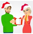 man and woman with christmas present vector image