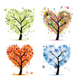 Four seasons trees - spring summer autumn winter vector image vector image