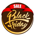 label black friday with red ribbon vector image
