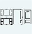 Open door and window vector image