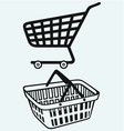 Shopping supermarket cart and plastic basket vector image vector image