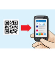 scanning qr code with website hyperlink inside vector image
