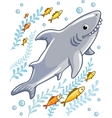 Cartoon shark in the sea surrounded by little fish vector image