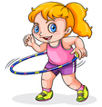 A young Caucasian girl playing with a hulahoop vector image