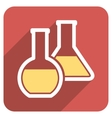 Glass Flasks Flat Rounded Square Icon with Long vector image
