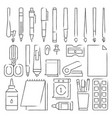 line stationery icons set vector image