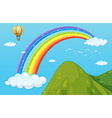 Rainbow and mountain vector image