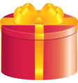 Red round gift box vector image