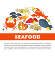seafood fresh fish poster sea food restaurant vector image