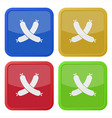 set of four square icons with sausage vector image