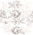 White seamless pattern with peonies and pansies vector image