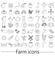 farm and farming big simple outline icons set vector image