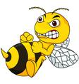 Angry bee cartoon vector image vector image