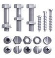 metal screws steel bolts nuts nails and rivets vector image