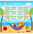 Calendar with monkey on hammock 2016 vector image vector image