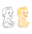 cartoon baby coloring page with colorfull sample vector image