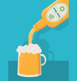 pouring beer in a beer glass from a bottle with vector image