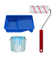soft roll bucket full of paint and plastic stand vector image