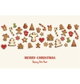Christmas card or invitation with gingerbread vector image vector image