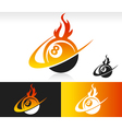 Fire swoosh eight ball logo icon vector