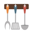 Brown rack utensils kitchen icon vector image