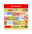 grocery store shelves with food vector image