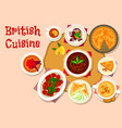 british cuisine lunch dishes icon design vector image