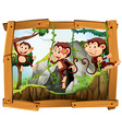 Monkeys and cave in the wooden frame vector image vector image