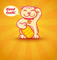 Cat lucky yellow vector image