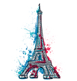 eiffel tower with abstract splashes in watercolor vector image