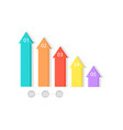five colorful upward arrows vector image