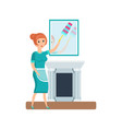 maid hotel worker wipes dust wipes furniture vector image