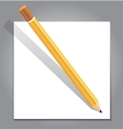 Pencil with white note paper on gray background vector image