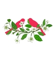 White Flowers and Pink Birds on Twig Composition vector image