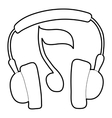 Earphones icon outline style vector image