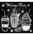 Tasty warming drinks set in vintage style vector image