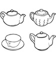 teapot and cup vector image vector image