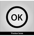OK flat icon on grey background vector image